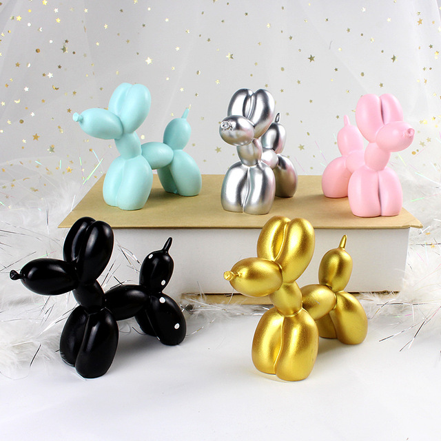 Cute Small Balloon dog Resin Crafts Sculpture Gifts Fashion Cake baking Home Decorations Party Dessert Desktop Ornament 5 Colors 1