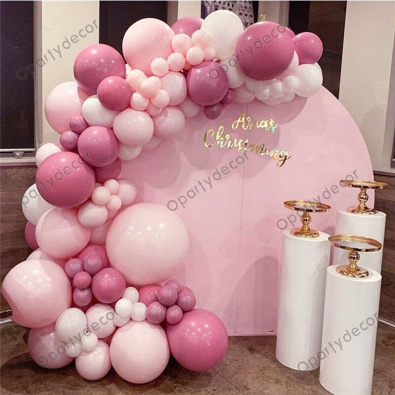 130Pcs Macaron розового цвета на день рождения воздушные шары-гирлянды Набор для арки серебро 4D шарик из фольги в форме комплект Baby Shower Свадебные у...