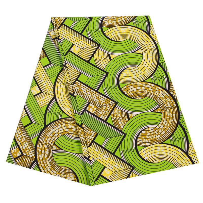 100% Cotton Fashion Design African Green&Yellow Print Wax Fabric Wax 6Yards\lot