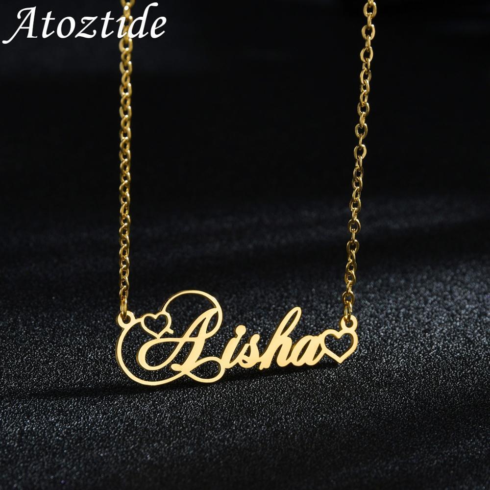 Atoztide Halsketten Herz Personalisierte Choker Name Halsketten Typenschild Charme Schmuck Edelstahl Geschenk Liebhaber Für Frauen