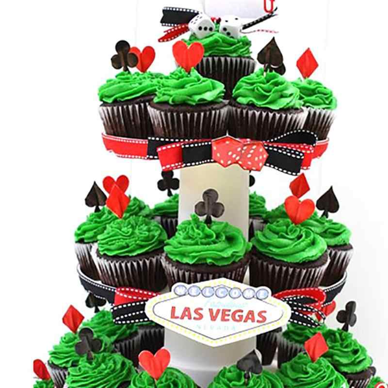 Fantastic 27 36Pcs Glitter Paper Cake Toppers Casino Theme Cake Picks Funny Birthday Cards Online Unhofree Goldxyz