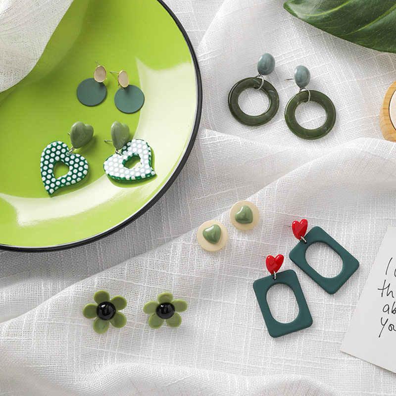 Vòng Tay Phong Cách Tươi Mát Sâu Xanh Tuyên Bố Bông Tai Hoa Tình Yêu Hình Học Đơn Giản Earings Trang Sức Thời Trang AROS De Moda Aretes 2019