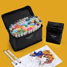JIANWU – ensemble de stylos marqueurs artistiques à double tête ART5, 40/60/80/168 pièces, à base d'alcool, Non toxiques, pour croquis, peinture, dessin, fournitures artistiques