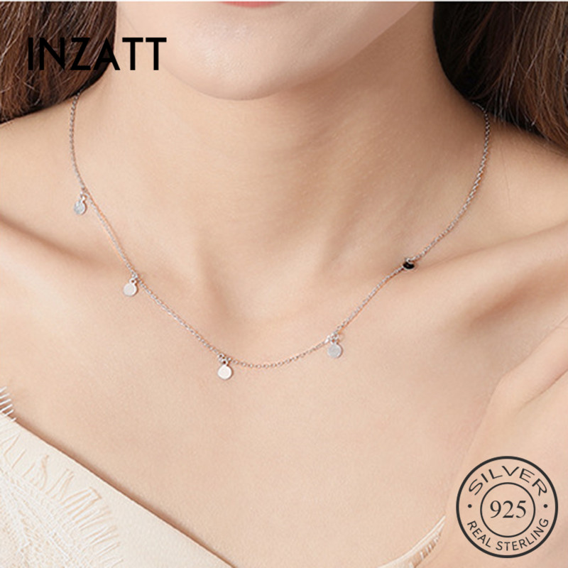 INZATT Real 925 Sterling Silver Geometric Round Choker Necklace For Fashion Women Minimalist Fine Jewelry Cute Accessories 2019(China)