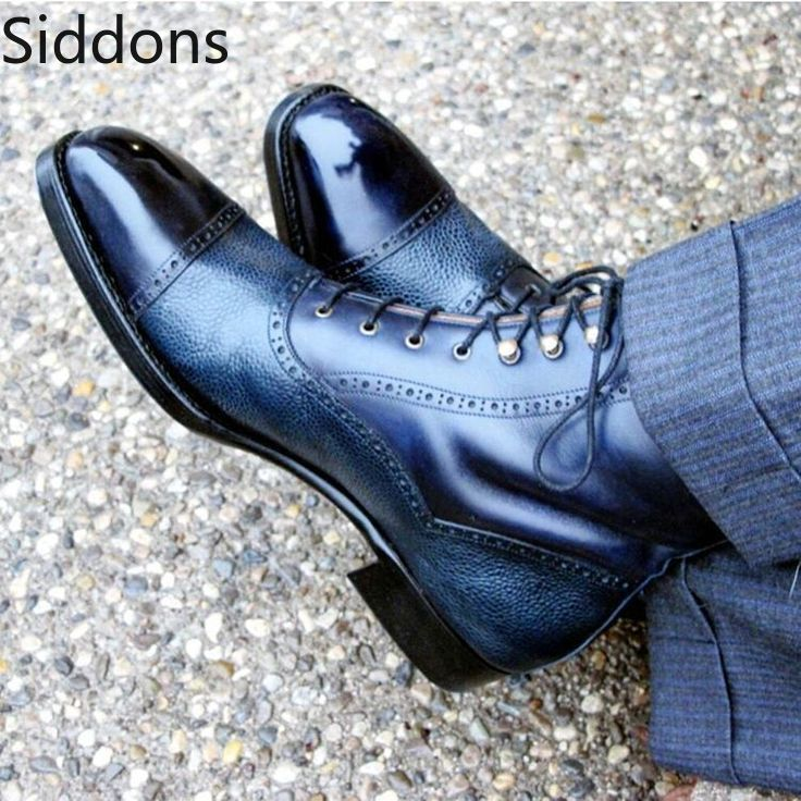 Two Tone High Ankle Rounded Cap Toe Pu Leather Lace Up Boots For Men's  Zapatos De Hombre Fashion Shoes Men D45