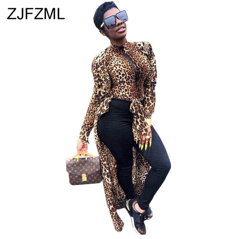Leopard Front Slit Sexy Party Dress Women Stand Collar Long Sleeve Zipper Maxi Dress 2019 Fall Plus Size Sashes Slim Club Dress