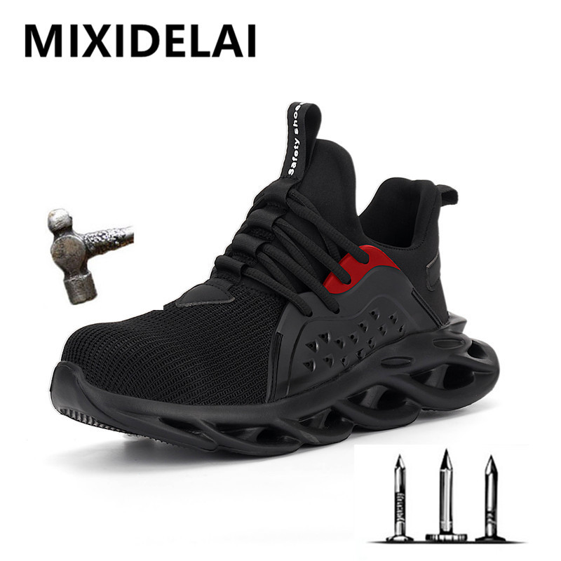 2020 New Spring Steel Toe Cap Men Safety Shoes Work Sneakers Women Boots Plus Size 36-48 Breathable Outdoor Shoe MIXIDELAI Brand