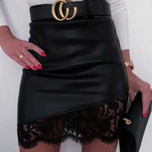 PU Faux Leather Lace Skirt Sexy Women High Waist Patchwork Zipper Pencil