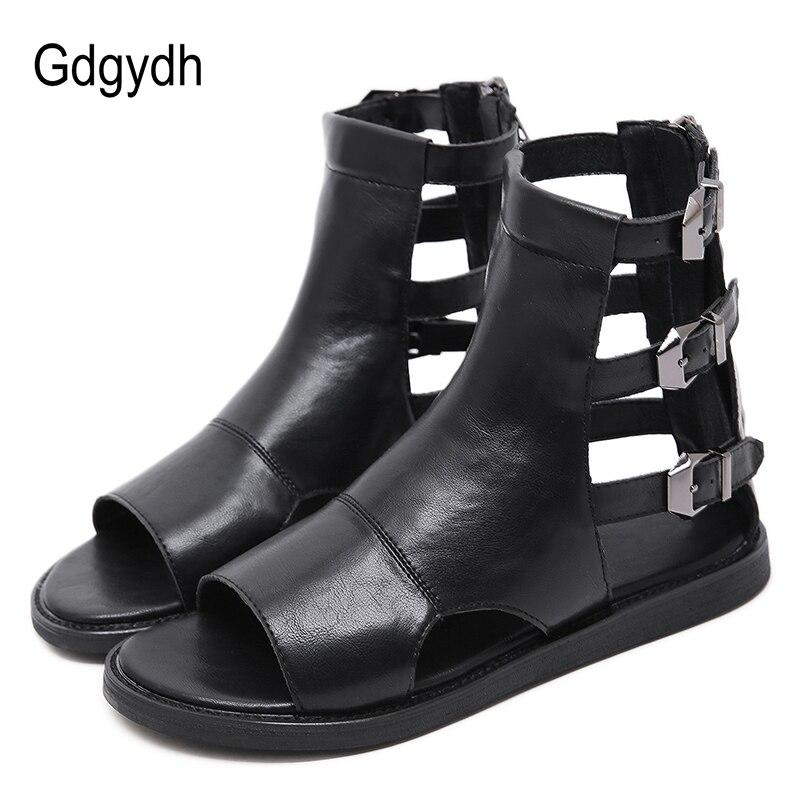 Gdgydh Fashion Buckle Flat Sandals Summer Women Roman Style Open Toe Vintage European Flat Heels Gladiator Shoes Female Summer