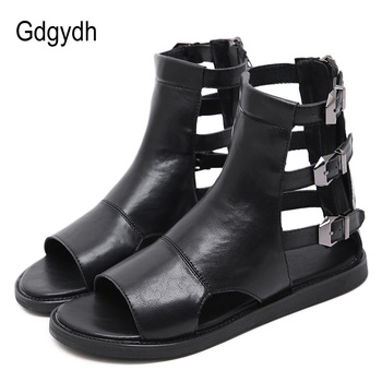 Gdgydh Fashion Buckle Flat Sandals Summer Women Roman Style Open Toe Vintage European Flat Heels Gladiator Shoes Female Summer women s summer sandals fashion party open toe heels shoes female classic belt buckle wedge shoes plus size 43