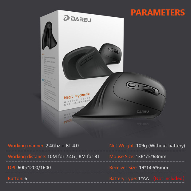 DAREU Magic Ergonomic Vertical Wireless Mouse Bluetooth 4.0+2.4Ghz Dual mode skin Gaming Mice with 3D scroll wheel For Computer 6