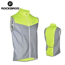 ROCKBROS-Chaqueta reflectante para ciclismo, ropa deportiva, abrigo de viento para bicicleta, Jersey transpirable de seguridad fluorescente