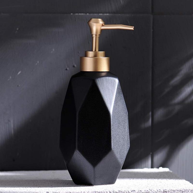 HTHL-Soap Dispenser Liquid Soap Pump Dish Soap Dispenser Ceramic Lotion Dispenser For Kitchen Bathroom Washroom Black