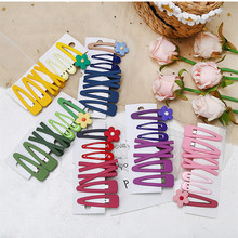 7pcs Cute Hair Clips Set Hairpins Girls Kids Korea Style Snap Clip Avocado Flower Barrettes Candy Color Side Clips MC004