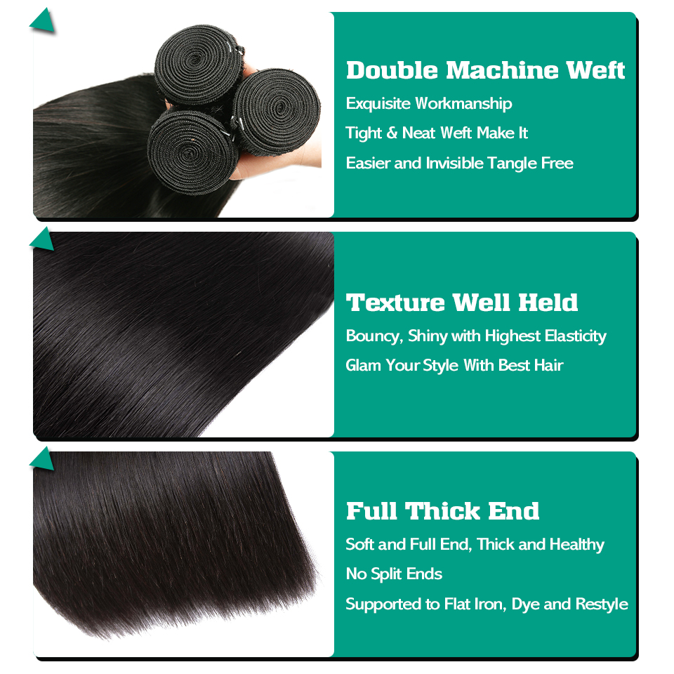 Brazilian Straight Hair Bundles With Closure SEXAY Non Remy Hair Weft Weave 100% Human Hair Extensions 3 Bundles With Closure (3)