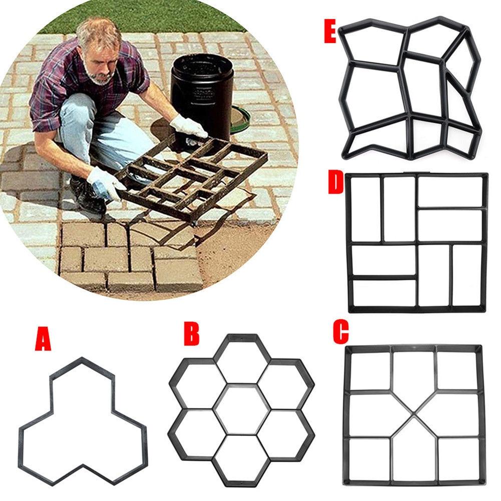 High Garden DIY Plastic Path Maker Pavement Model Concrete Stepping Stone Cement Mould Brick LG66|Paving Molds| |  - title=