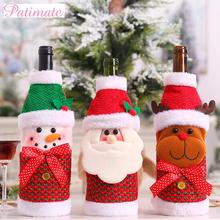 PATIMATE Christmas Cloth Wine Bottle Cover Decorations For Home Table Decor 2019 Xmas Gifts New Year 2020