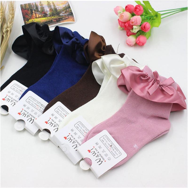 2019 Spring Baby Girls Kids Cotton Socks BowKnot Fish Ruffle Frilly Ankle Short Sock Breathable Girls Princess Socks