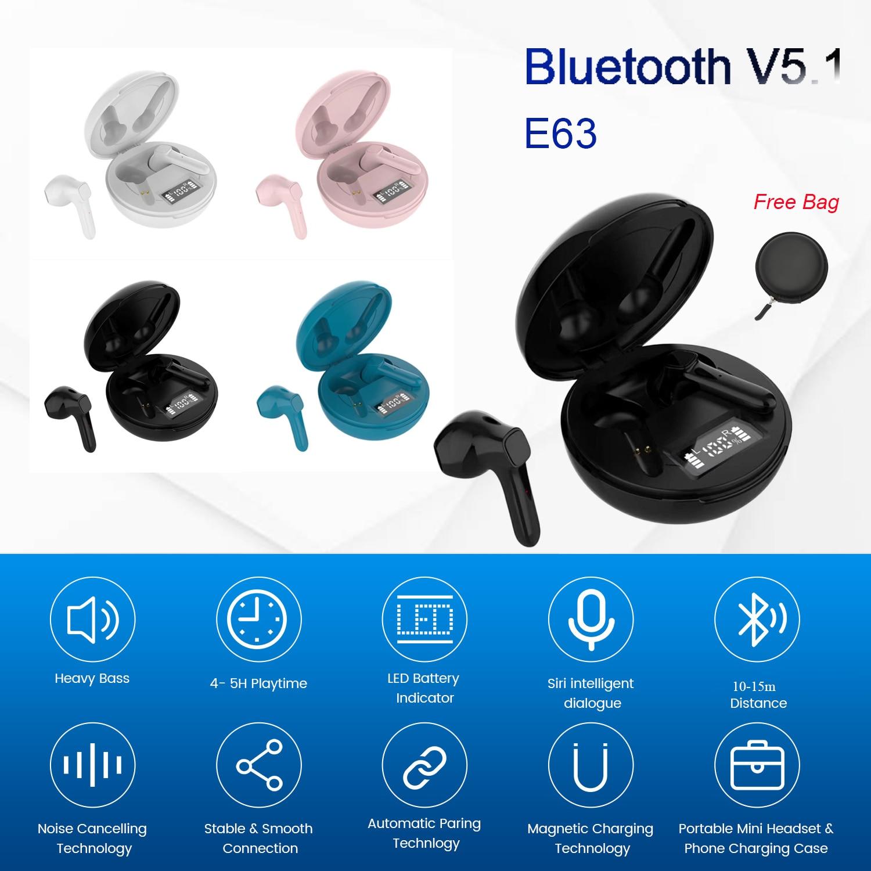 Беспроводные наушники-вкладыши Tws Fone Bluetooth наушники с сенсорным управлением V5.1 маленький E63