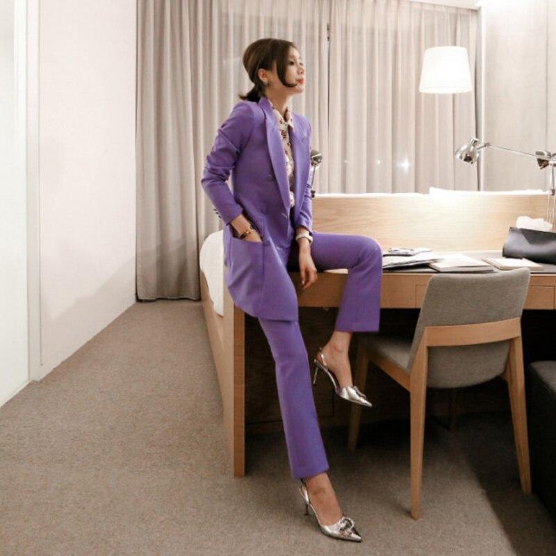 Mulheres OL Moda Roxo Mulheres Pant Terno Double Breasted Casaco Longo Blazer e Calça Reta Trabalho Negócio Senhoras 2 Peças conjunto - 3