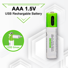 High capacity 1.5V AAA 550 mWh USB rechargeable li-ion battery for Remote control wireless mouse + Cable