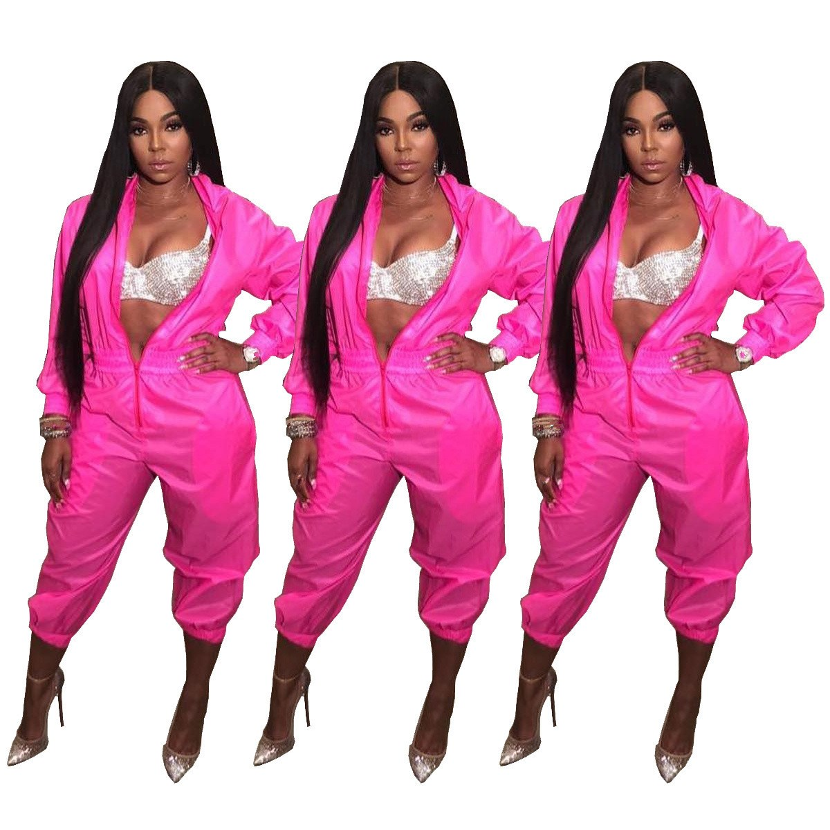 Front Zipper Stand Collar Casual Jumpsuits For Women Long Sleeve Party Bodysuit Stretwear Loose Club Rompers Feminino