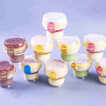 50pcs High quality creative small transparent plastic cups baking package ice cream pudding jelly fruit dessert cup with lids
