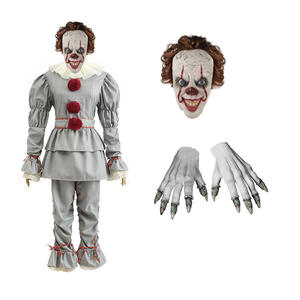 Cosplay Suit Mask Joker Clown Party Pennywise Gloves Halloween Costume King's Adult Children