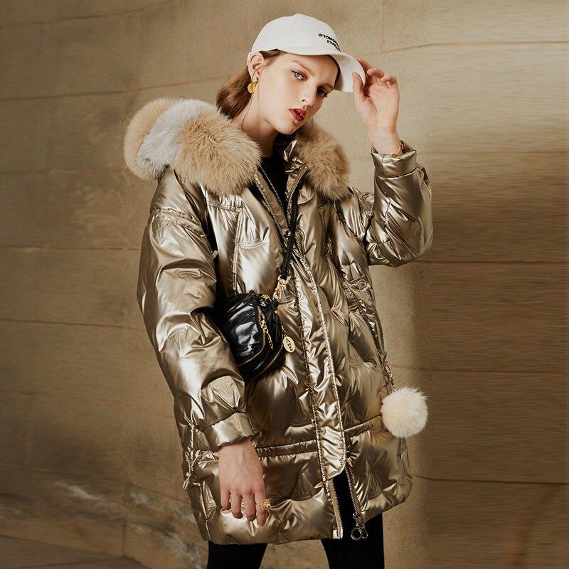 Large Natural Fox Fur Hooded Shiny Jacket 2021 New 90% Duck Down Coat women Long Golden Female Winter Down Parkas Waterproof