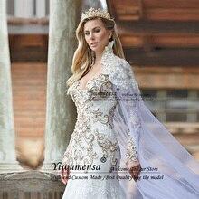 Mermaid Luxury Wedding Dresses Gold Beading Crystal Plus Size Bridal Gowns Elegant Long Sleeves Bride Dress Vestidos De Noiva