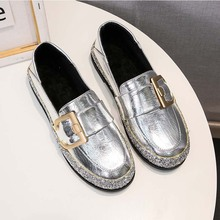 цена на Black Silver Women Loafers Summer Slip On Boat Shoes Woman Flats Office Oxford 2020 Fashion Casual Ladies Platform Flat Shoes