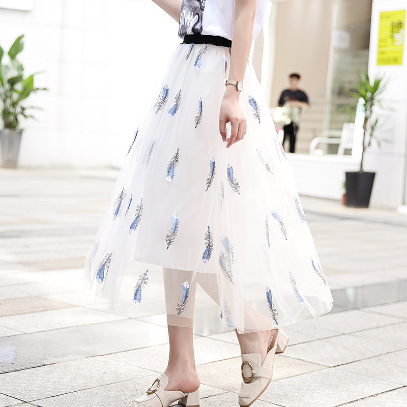 Gauze Skirt Women's 2019 Popular Summer New Style Elegant INS Super Fire Skirt Mid-length Fairy Skirt