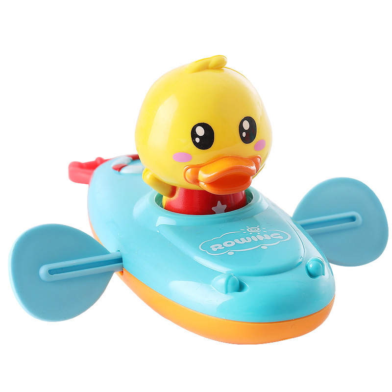 Children Bath Water Playing Toys Chain Rowing Boat Swim Floating Cartoon Duck Infant Baby Early Education Bathroom Beach Gifts