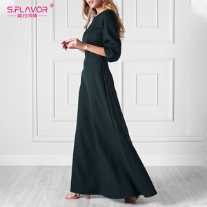 Image 5 - S.FLAVOR أنيقة الصلبة فستان طويل 2020 الصيف خمر س الرقبة فساتين عادية موضة فانوس طوق حفلة Vestidos