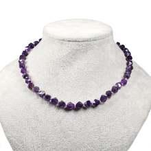 Натуральный Граненый Аметист ожерелье с драгоценным камнем серебряные