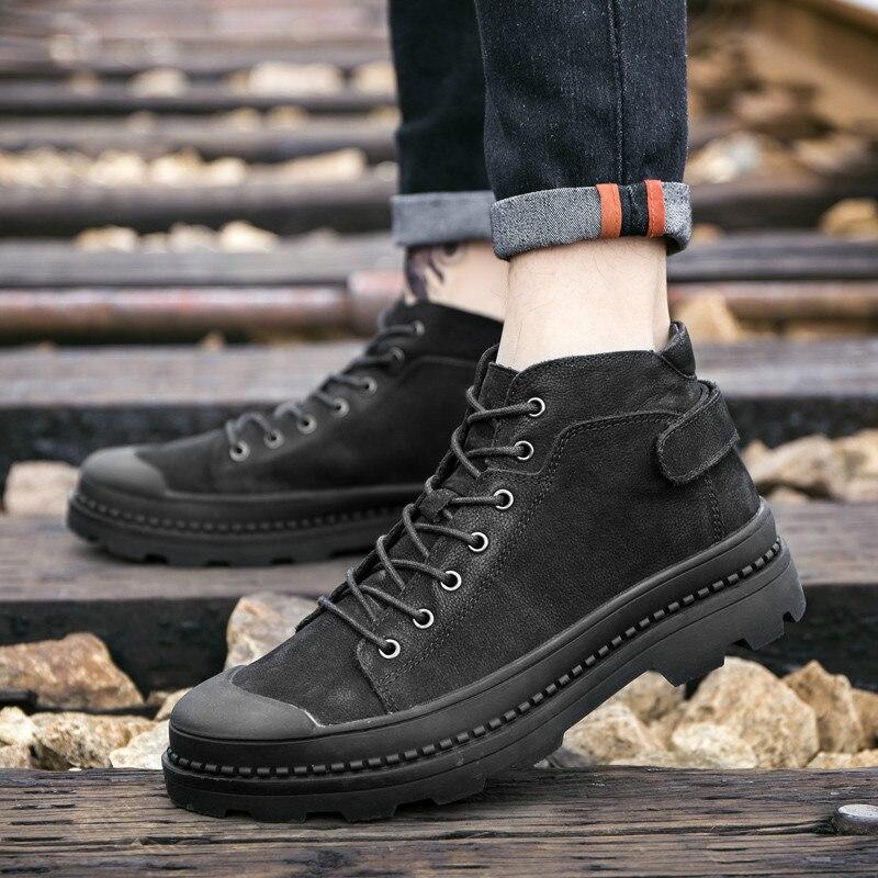 Зимние мужские теплые зимние ботинки из хлопка; повседневная мужская обувь; трендовая хлопковая обувь; Модные Ботинки Martin на шнуровке в анг...