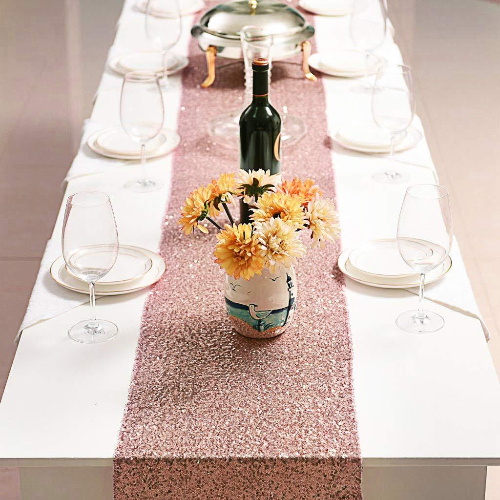 4Pcs 12 X 108Inch Glitter Rose Gold Sequin Table Runner for Birthday Wedding Engagement Bridal Shower Baby Shower Bachelorette H|Table Runners| |  - title=
