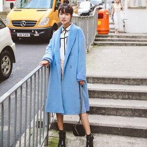 Image 1 - Abrigo liso de mezcla de lana con doble botonadura para mujer, chaqueta con bolsillos y cuello vuelto, abrigos largos azules informales para mujer