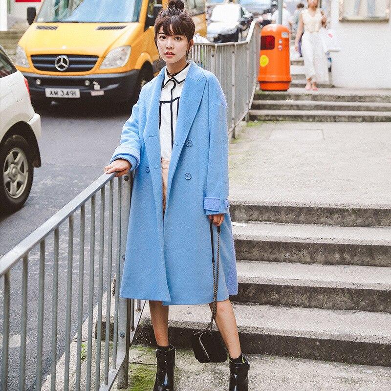 Casaco E Jaqueta de inverno Sólida Mistura de Lã Double Breasted Bolsos Turn-down Collar Senhoras Casacos Casuais Das Mulheres Azuis Longo casacos