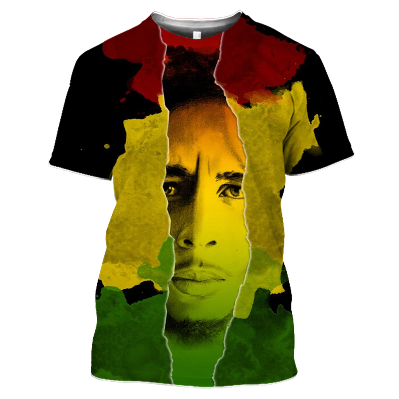 Bob Marley Rock Hip Hop T Shirt Men Male Summer Plus Size Streetwear Casual Short Sleeve Round Neck Weeds Reggae Star T-Shirt (35)