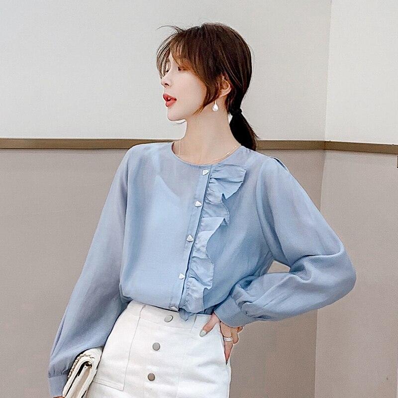 Korean Fashion Chiffon Women Blouses Ruffles Long Sleeve Blue Women Shirts Plus Size XXL Blusas Femininas Elegante Ladies Tops in Blouses amp Shirts from Women 39 s Clothing
