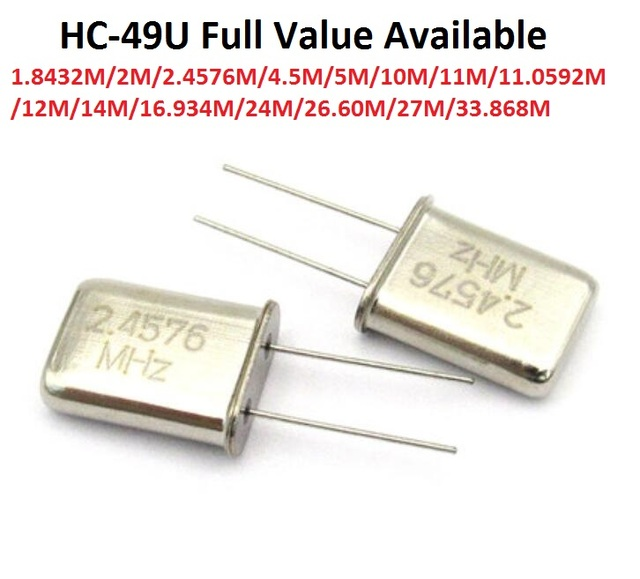 5PCS Passive Crystal Oscillator HC 49U 1.8432M/2M/2.4576M/4.5M/5M/10M/11M/11.0592M/12M/14M/16.934M/24M/26.60M/27M/33.868M/MHZ 49