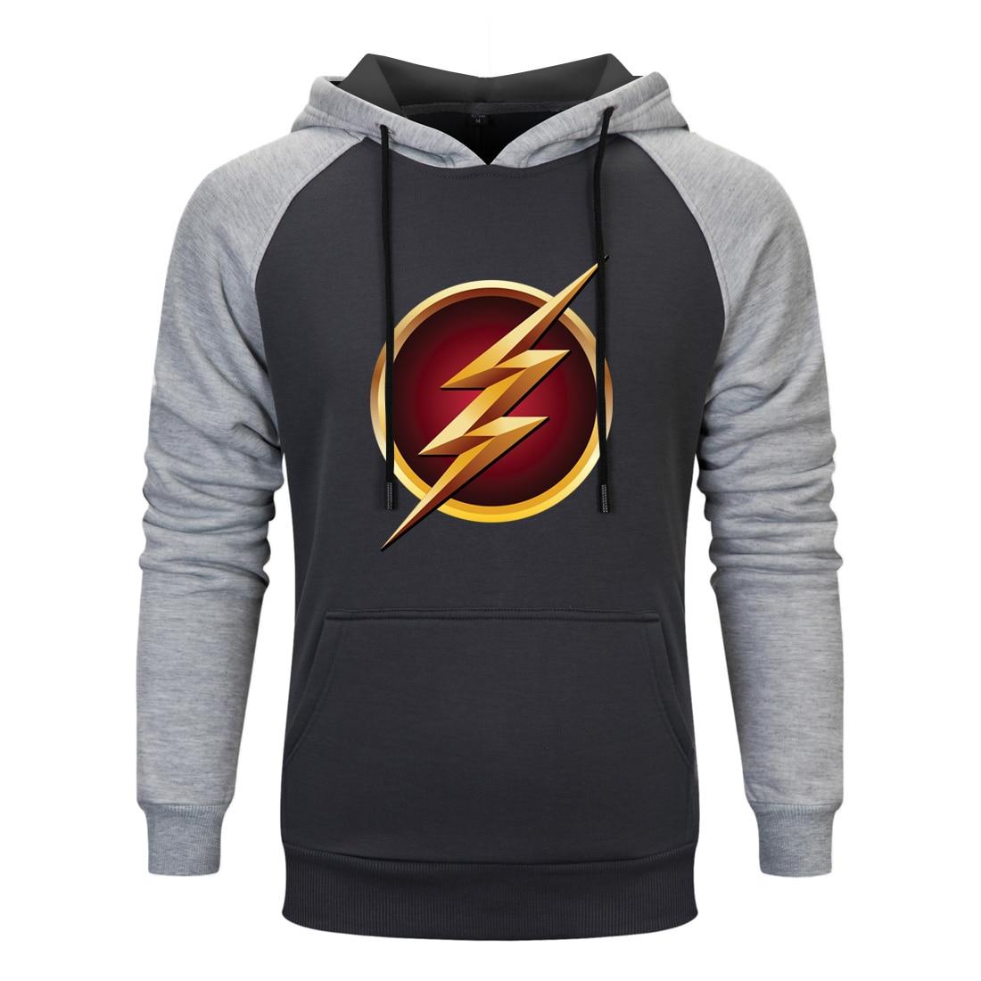 The Flash Super Hero Raglan Hooded Hoodies Men Spring Autumn Sweatshirts 2020 Casual Fleece Pullovers Male Casual Hipster Coats