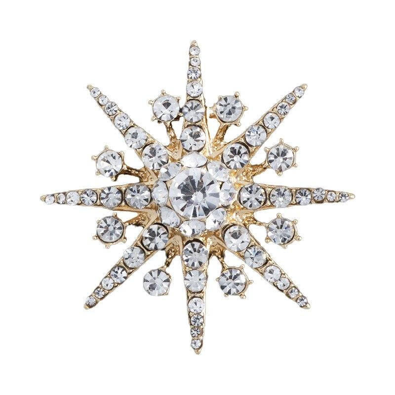 Новинка, высококачественные стразы, брошь в форме звезды, блестящий кристалл, снежинка, отворот, булавка, модные ювелирные изделия, броши дл...