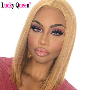 Wigs Human-Hair-Wigs Short Bob Honey-Blonde Transparent-Lace Lace-Front Remy Pre-Plucked