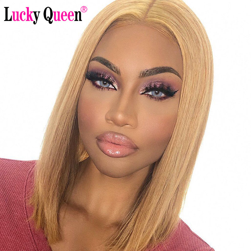 Honey Blonde Short Bob Lace Front Wigs Transparent Lace Front Wigs Pre Plucked Lucky Queen Remy Human Hair Wigs