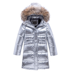 New children's down coat Children space silver thick down jacket Girls long windproof down jacket Boys fashion warm Parker coat