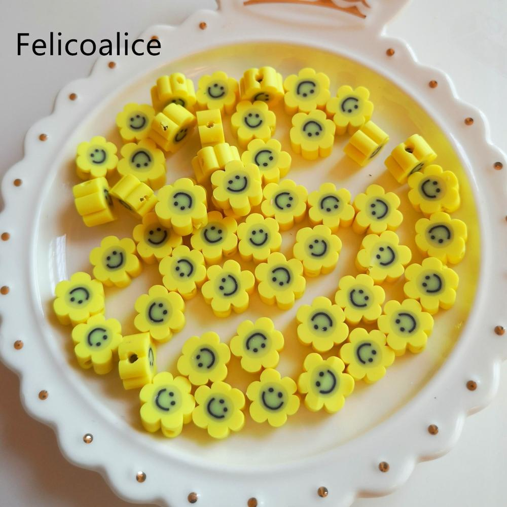 20pcs Smiley Face Flowers Polymer Clay Shape Spacer Beads For DIY Handmade Jewelry Craft Accessories 10mm