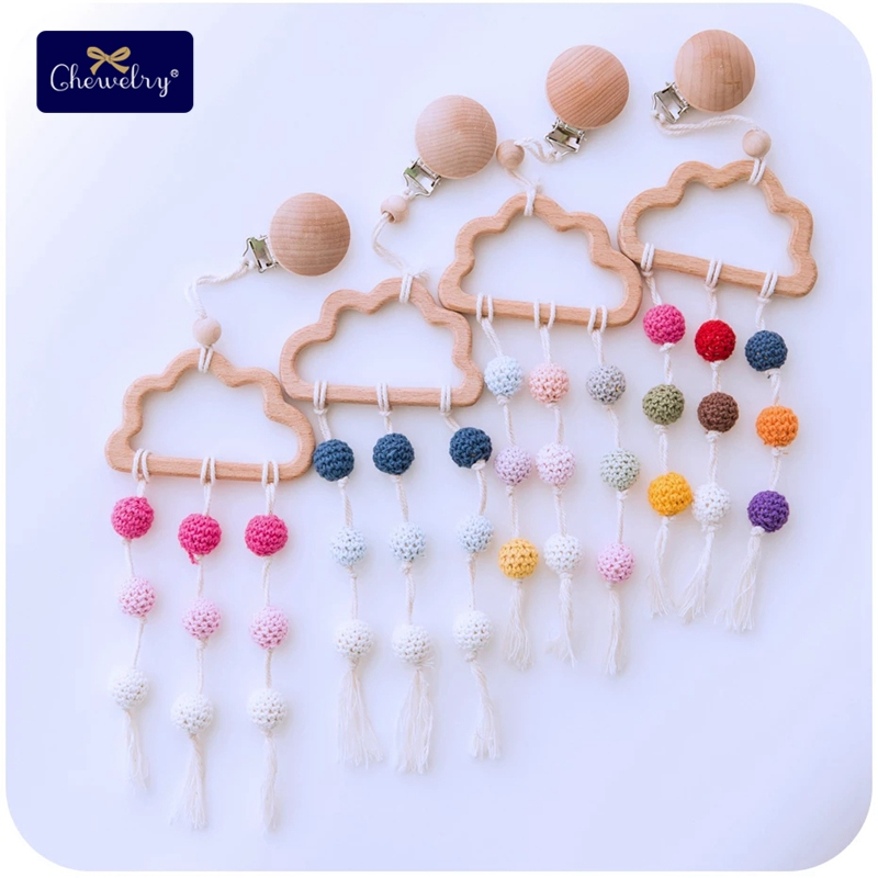 1pc Baby Teether Beech Wood Cloud Bed Bell Crochet Beads Dummy Pacifier Clip DIY Wood Jewelry Making For Baby Teeth Clip Chains