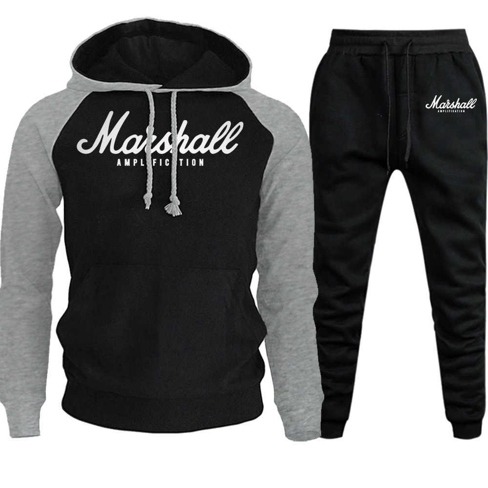 ערכות בסוודרים גברים אימוניות 2019 מקרית נים מכנסיים Mens ספורט מכנסיים Hoody סווטשירט זכר חליפות ריצה Sweatpant 2 Pcs